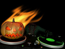 Headless DJ 1. Headless Horseman's in the House and mixing up some Halloween horror. Turntables with vinyl albums and a flaming Jack o' Lantern stock illustration