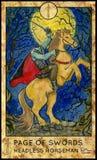 Headless horseman. Page of swords. Stock Photo