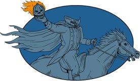 Headless Horseman Pumpkin Head Horse Oval Drawing Royalty Free Stock Images