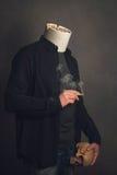 Headless man with ashtray and Skull smoking a cigarette Royalty Free Stock Photos