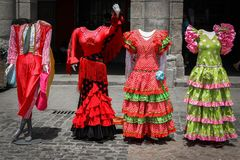 The flamenco show is waiting for you. Headless mannequins dressed in flamenco costumes - ready for you to stand behind them for a picture Stock Photography