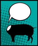 Headless pig. Conceptual comic style graphic of a headless pig and speech bubble Royalty Free Stock Images