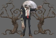 A headless zombie with two wizened trees against a full moon night vector illustration