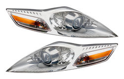 Headlight. This image shows two isolated headlights stock photo