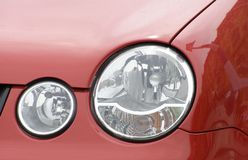 Headlight. Lamp on red car Stock Photography