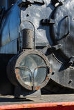 Headlight of the ancient steam locomotive. Petroleum lamp and a Stock Images