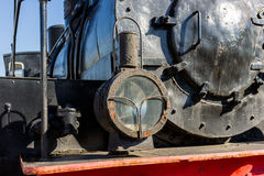 Headlight of the ancient steam locomotive. Petroleum lamp and a Royalty Free Stock Photo