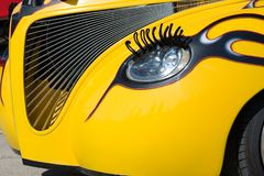Headlight Eyelash. Hot rod with stunning personality royalty free stock photography