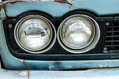 Headlight of old car. Headlight in front old car Stock Images