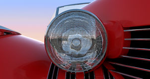 Headlight and hood of red retro car Royalty Free Stock Photos
