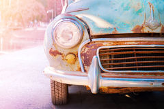 Headlight lamp old antique car - vehicles vintage classic style. Serenity and rose quartz color filter, vintage pastel effect Royalty Free Stock Photography