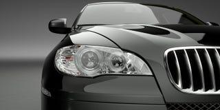 Headlight luxury car. Headlight of modern cars, a black luxury car. 3D graphics vector illustration