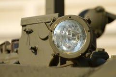 Headlight  military tank. Headlight close-up on a military tank Royalty Free Stock Photo