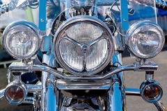 Headlight of a modern motorcycle Stock Images