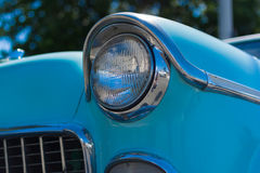 Headlight of a oldtimer in front of blue sky. Headlight of a classic car in front of blue sky Royalty Free Stock Images