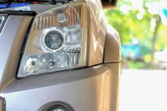 Headlight of pickup car, image close-up part of automobile stock image