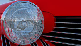 Headlight of red retro car Royalty Free Stock Images