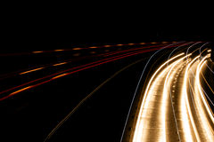 Headlight Streaks On Motorway Stock Image
