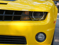 Headlight on Yellow Sports Car Stock Image