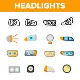 Headlights, Auto Headlamps Linear Vector Icons Set vector illustration