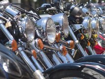 Headlights of motorbikes Royalty Free Stock Photography