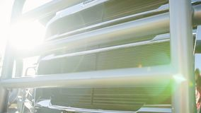 The headlights of a new truck on a sunny day. Hd stock footage