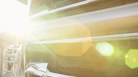 The headlights of a new truck on a sunny day. Hd stock video footage