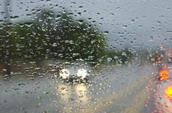 Headlights in Rain Drops stock images
