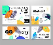 Headline banner - modern vector set of abstract images. On bright tropical background, palm tree leaves, geometric shapes and brush strokes. Place for your Royalty Free Stock Photos