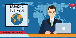Headline or breaking news man tv reporter presenter sitting in a. Studio, in flat style Vector illustration royalty free illustration