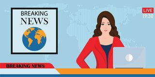 Headline or breaking news woman tv reporter presenter sitting in. A studio, in flat style Vector illustration royalty free illustration