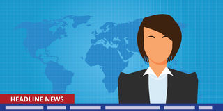 Headline or breaking news woman tv reporter presenter. Vector vector illustration