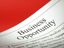 The headline of the business opportunities Royalty Free Stock Photo