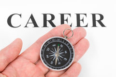 Headline career and Compass. Concept of career choice Stock Photos