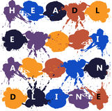 Headline with color splash and blots Stock Photography