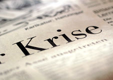 Headline Crisis. Big headline crisis (Krise) in German business newspaper 2009 Royalty Free Stock Photo