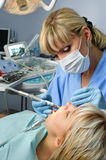 Headline: dentistry, tooth cavity stopping Royalty Free Stock Image