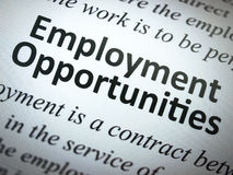 The headline of the employment opportunities  Royalty Free Stock Images