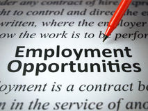 The headline of the employment opportunities  Stock Photos