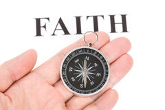 Headline faith and Compass Stock Photo