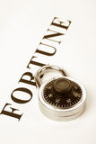 Headline fortune and lock Royalty Free Stock Image