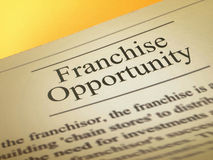 The headline of the franchise opportunities Royalty Free Stock Photography