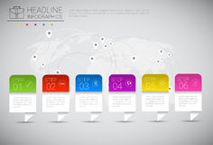 Headline Infographic Design Business Data Graphic Collection Over World Map   Stock Photography