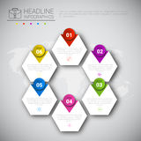 Headline Infographic Design Business Data Graphic Collection Over World Map Presentation Copy Space Stock Photography
