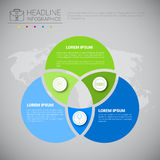 Headline Infographic Design Business Data Graphic Collection Over World Map Presentation Copy Space Stock Photos