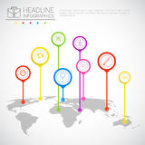 Headline Infographic Design Business Data Graphic Collection Over World Map Presentation Copy Space Royalty Free Stock Photos