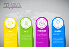 Headline Infographic Design Business Data Graphic Collection Over World Map Presentation Copy Space Stock Image