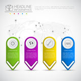 Headline Infographic Design Business Data Graphic Collection Over World Map Presentation Copy Space Stock Images