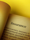 The headline of the insurance book Royalty Free Stock Photo