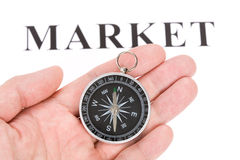 Headline market and Compass Royalty Free Stock Images